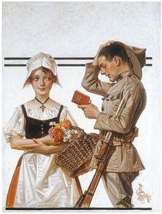 J. C. ライエンデッカー「兵士とフランス娘」(1917)