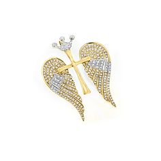 14K Gold Unique Angel Wings Diamond Cross Pendant with Crown 0.4ct ($167) ❤ liked on Polyvore featuring jewelry, pendants, gold cross pendant, 14k yellow gold pendant, diamond pendant, gold diamond pendant and gold crucifix pendant
