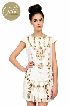 Little Mistress Cream Heavily Embellished Sequin Detail Dress