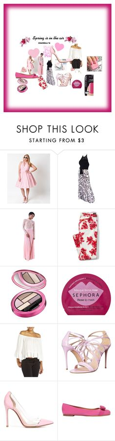 """""""pink, pink,pink"""" by beverly-hester on Polyvore featuring Sephora Collection, Unique Vintage, Lands' End, Elizabeth Arden, Casadei, Gianvito Rossi, Salvatore Ferragamo, SensatioNail and plus size clothing"""