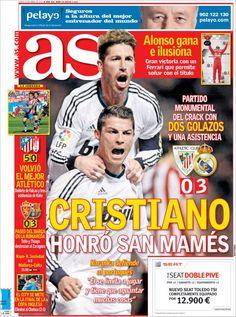 Los Titulares y Portadas de Noticias Destacadas Españolas del 15 de Abril de 2013 del Diario Deportivo As ¿Que le parecio esta Portada de este Diario Español?