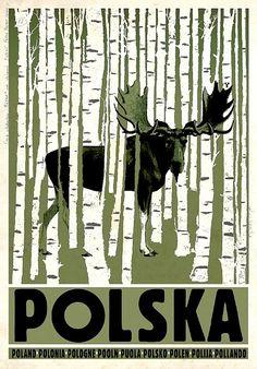 POLAND Birchwood and Elk, Polish Tourist Poster - Ryszard Kaja