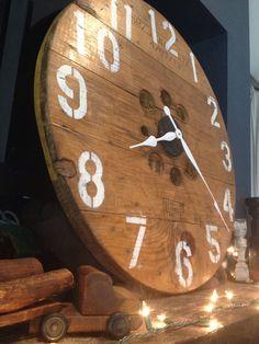 ON SALE. Repurposed cable spool clock