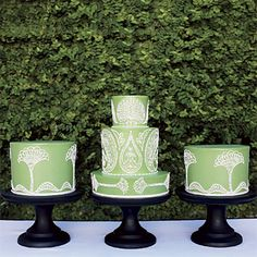 Green #wedding #cake trio  {I love everything in threes}