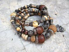 Experimental Tribal gypsy bangle stack bracelets by beatnheart