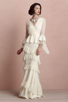 BHLDN Banderole Gown.  So elegant and chic.  On sale at www.adinasbridal.com.  #weddingdress #vintage #ido #BHLDN #ruffles #gettingmarried