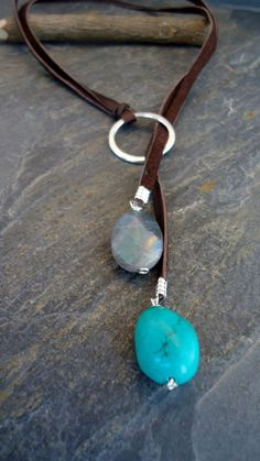 Leather Necklace, Leather Turquoise lariat, Sterling Silver Turquoise Labradorite Deerskin lariat/Aqua Blue/Spring Colors - product images of