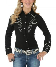 Another great find on #zulily! Black Embroidered Core Western Button-Up - Women #zulilyfinds
