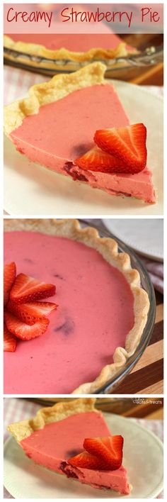 Creamy Strawberry Pie ~ Delicious Flaky Crust Piled with a Creamy Strawberry Pie Filling!