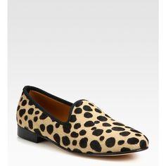 Del Toro Leopard-Print Calf Hair Slipper Shoe ($350) ❤ liked on Polyvore