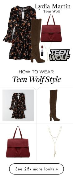 """lydia martin; teen wolf"" by teensyflowur on Polyvore featuring American Eagle Outfitters, ALDO, Mansur Gavriel, Bloomingdale's and MAC Cosmetics"