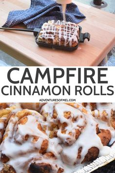 Two simple ways to make cinnamon rolls, grilled or over the campfire. Ooey gooey, deliciously easy camping recipe you can make ahead and cook outdoors! #adventuresofmel #grillingrecipes #campingrecipes #breakfast #outdoorcooking