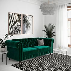 Felix Chesterfield Sofa Futon Image 1 of 8 Living Room Green, Living Room Sofa, Living Room Decor, Art Deco Interior Living Room, Blue Velvet Sofa Living Room, Chesterfield Living Room, Velvet Room, Blue Rooms, Room Colors