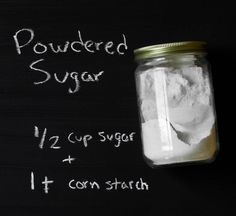 How To: Make Powdered Sugar Cup Sugar + 1 T Corn Starch- Just in case Make Powdered Sugar, Confectioners Sugar, Powdered Sugar Substitute, Granulated Sugar, Homemade Spices, Homemade Seasonings, Lassi, Kimchi, Cookies Decorados