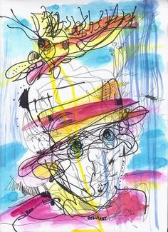 Drawing by RegiaArt #art #color #face #bird