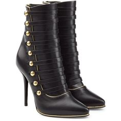 Balmain Leather Boots (3,390 SAR) ❤ liked on Polyvore featuring shoes, boots, ankle booties, heels, ankle boots, black, black bootie boots, black leather bootie, black heeled booties and black stilettos