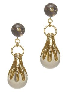 Mammoth Collection, Hand Clasp Earrings, woolly mammoth ivory, gold, white diamonds, smokey quartz