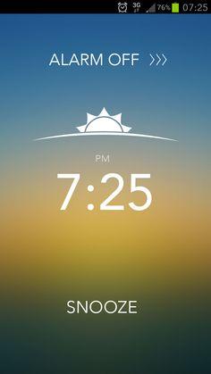 Alarm clock wake up screen.