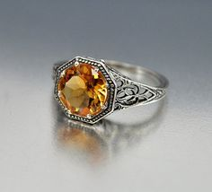 Vintage Sterling Silver Filigree Citrine Ring Size 5.5 Engagement Ring Art Deco Wedding Jewelry