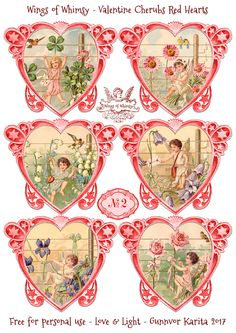 Wings of Whimsy: Valentine Cherubs Hearts Red #vintage #ephemera #freebie #printable #valentine #heart #cherub