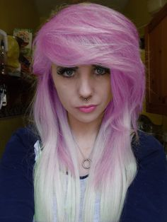 I love the haircut and the color! :) Koolaid dye maybe? That would be a pain to take care of. ._.