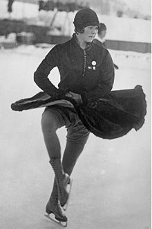 Sonja Henie (1912-1969) Norwegian figure skater and film star.  She was a three-time Olympic Champion (1928, 1932, 1936) in Ladies Singles, and ten-time World Champion (1927-1936).  She won more Olympic and World titles than any other female figure skater.  At the height of her acting career, she was one of the highest paid stars in Hollywood.
