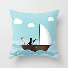 At The Sea Throw Pillow by Uma Gokhale - $20.00