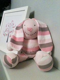Send this lady a few pieces of your baby's old clothes, and she will make a stuffed animal of your choice out of it! She will even add an embroidery patch with name and date, etc on it, if you wish. Such a cute idea for keepsake!