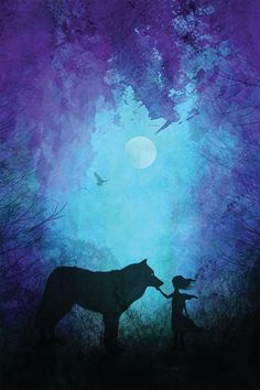 "24""x36"" galaxy canvas print, dorm wall art, wolf silhouette, wolf whisperer art…"