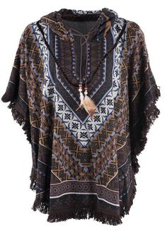 Lola P Brown Aztec Print Poncho - Front Africa Fashion, Tribal Fashion, Boho Fashion, Mens Fashion, Fashion Outfits, Ankara Fashion, Aztec Clothing, Hippie Style Clothing, Hippie Outfits