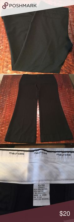 """Maurices Wide Legged Trousers Size 13/14 Maurices Dress Pants Size 13/14 with a  30"""" inseam. These are nearly new, pleated, wide legged black Maurice's dress pants. They have only been worn a few times. They have 2 white threads (see pic) in the belt line. They are in great condition. Any questions, just ask. Comes from a Smoke Free/Feline Friendly home. Offers always welcome. Maurices Pants Wide Leg"""