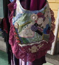 Hand embroidered and beaded crazy quilted hand bag