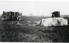 The only photograph taken of Michael Wittmann's destroyed late production model Tiger I no. 007 still in the fields near Gaumesnil, taken by the French civilian Mr Serge Varin in 1945 when he was cycling down the Caen-Falaise road (route nationale 158)