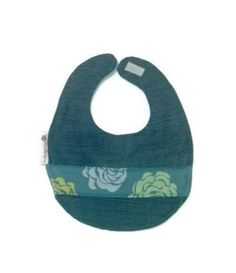 Bib  Upcycled Denim with Blue Rose fabric accent  by TheTieDyedOwl, $10.00