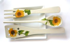Decoupage Kitchen Decoration yellow sunflowers wooden by CatHot, $10.00