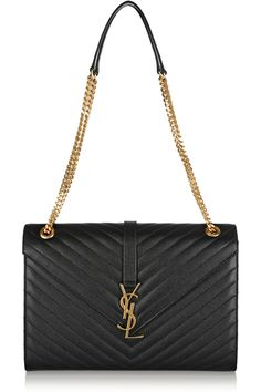 Saint Laurent | Monogramme large quilted textured-leather shoulder bag | NET-A-PORTER.COM [@its_helenxx]