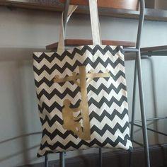 Chevron lineman tote bag by CrackerChild on Etsy