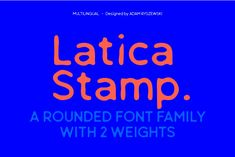 Latica Stamp is a rounded, sans serif and display font, imitating stamped writing, with deformed lines. Body text looks clear and legible, but the best use is where there is a need to escape from the clichéd, classic sharp font. It works well for bold projects, posters, billboards, press advertisements, websites, packaging. It provides multilingual support. Desktop, Sans Serif, Billboard, Fonts, Advertising, Packaging, Stamp, Posters, Good Things