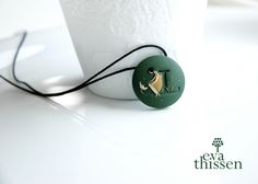 Personalized monogrammed medium-sized polymer clay pendant or brooch. | by Eva Thissen Gallery