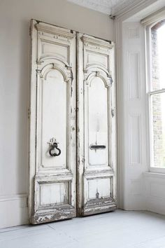 "How are those for closet doors? Love the ""barn door"" hardware and using antique doors. Would take a room with tall ceilings. How are those for closet doors? Love the ""barn door"" hardware and using antique doors. Would take a room with tall ceilings. Antique French Doors, Vintage Doors, The Doors, Windows And Doors, Entry Doors, Front Doors, Front Entry, Rustic Doors, Wooden Doors"