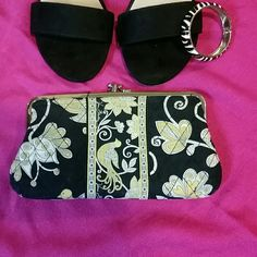 Vera Bradley kiss coin purse Great condition coin purse black yellow white Vera Bradley Bags Wallets