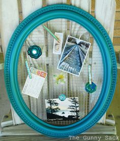 Framed Wire Memo Board- cute idea for baby pictures. Paint gold, silver for wedding photos.