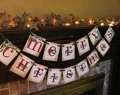 Merry Christmas Banner Red and Green Garland Sign Home Decor Photo Prop
