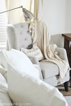Tufted neutral chair - lizmarieblog.com - Brought to you by NBC's American Dream Builders, Hosted by Nate Berkus