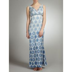 Buy Somerset by Alice Temperley Tile Print Silk Maxi Dress, Blue Online at johnlewis.com