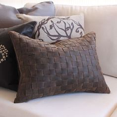 Basket Woven Leather Pillow