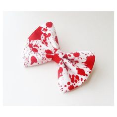 Hair Bow Vintage Inspired Blood Splatter Zombie Hair Bow Clip... ❤ liked on Polyvore featuring accessories, hair accessories, bow, vintage style hair accessories, rockabilly hair bows, barrette hair clips, hair bows and hair clip accessories