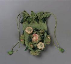 Drawstring bag. Italy or France, 1820-1860. Knit Silk. From the MFA Boston: 43.1091