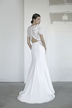 oui the label 2017 bridal short sleeves jewel neck heavily embellished bodice crop top 2 piece fit and flare wedding dress covered lace back sweep train bv -- OUI The Label 2017 Wedding Dresses Minimal Wedding Dress, Fit And Flare Wedding Dress, Wedding Dress Sleeves, Chic Wedding, Wedding Ideas, Bianca Jagger, Laura Lee, Bridal Looks, Bridal Style