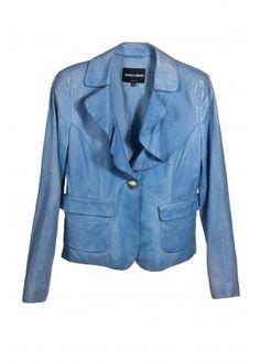 e830f3963223f Giorgio Armani Marynarka ze skóry naturalnej Ramoneska Giorgio Armani w  przepieknym cieniowanym niebieskim kolorze wykonana z